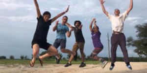 members jumping simultaneously