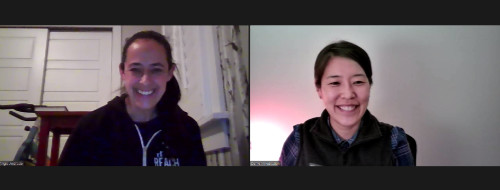 two women smiling on web conference
